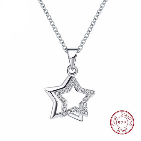 BestOnline925 Sterling Silver Pendant Necklace With Star Shape Shiny AAA Cubic Zircon