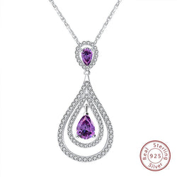 BestBuySale Pendant Necklace Real 925 Sterling Silver Pendant Necklace With Purple CZ