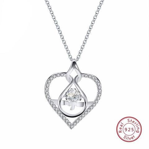 BestOnline925 Sterling Silver Heart Shape Pendant Necklace With AAA CZ