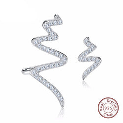 BestBuySale Earrings Women's 925 Sterling Silver Twisted Stud Earrings With AAA Austrian Cubic Zirconia