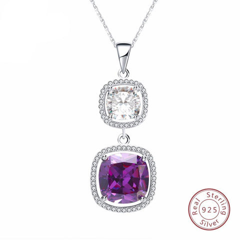 BestOnline925 Sterling Silver Pendant Necklace With Big AAA Cubic Zirconia