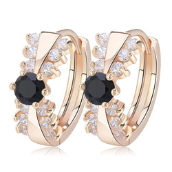 BestOnlineWomen's Classical Gold-color Earring with 14 Pieces Clear/Black Cubic Zirconia