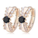BestBuySale Earrings Women's Classical Gold-color Earring with 14 Pieces Clear/Black Cubic Zirconia