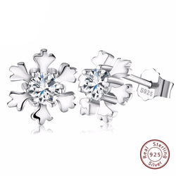 BestOnlineWomen's 925 Sterling Silver Snowflake Earring Studs with Shiny CZ Crystal