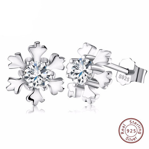 BestBuySale Earrings Women's 925 Sterling Silver Snowflake Earring Studs with Shiny CZ Crystal
