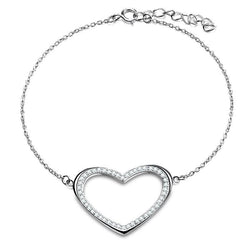 BestOnlineWomen's Silver Color Heart Shape Bracelet With Paved Luxury AAA Austrian Crystal