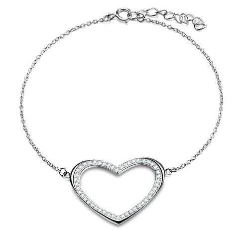 BestBuySaleWomen's Silver Color Heart Shape Bracelet With Paved Luxury AAA Austrian Crystal