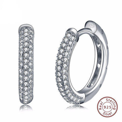 BestOnline925 Sterling Silver Earring with 2 Row 90pcs Austrian Cubic Zirconia
