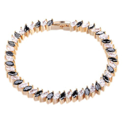 BestOnlineWomen's Luxury Bracelet With Clear& Black Cubic Zircon Inlay
