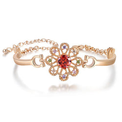 BestOnlineLead & Nickel Free Women's Rose Gold Bracelet With Red AAA Zircon Flower
