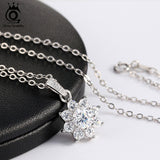 BestBuySaleWomen's Real 925 Sterling Silver Pendant Necklace With Crystal Snowflake