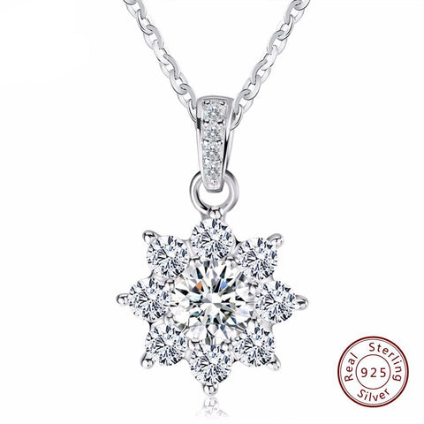 BestBuySale Pendant Necklace Women's Real 925 Sterling Silver Pendant Necklace With Crystal Snowflake