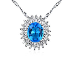 BestBuySale Pendant Necklace Luxury Women's Pendant Necklace With Big Blue Micro Paved AAA Cubic Zirconia