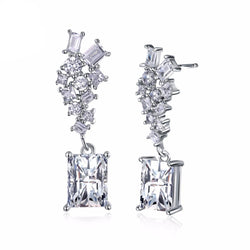 BestBuySale Earrings Women's Silver Color Earrings with White Cubic Zirconia