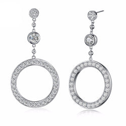 BestBuySale Earrings Luxury Round Shape Women's Stud Earrings with 37 Pieces White/Black Cubic Zirconia