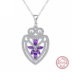 BestOnline925 Silver Sterling Pendant Necklace With Water Drop Shape Purple Shiny CZ