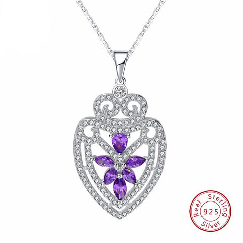 BestBuySale925 Silver Sterling Pendant Necklace With Water Drop Shape Purple Shiny CZ