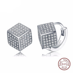 BestBuySale Earrings Women's 925 Sterling Silver Solid Earrings with Square Shape Shiny Austrian CZ