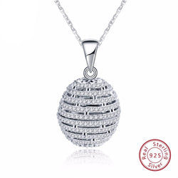 BestBuySale Pendant Necklace Round 925 Sterling Silver Pendant Necklace With AAA CZ