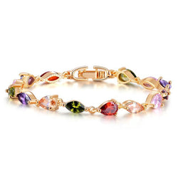 BestOnlineWomen's Rose Gold Bracelet With AAA Colorful Cubic Zirconia
