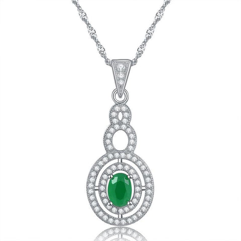 BestBuySaleWomen's Pendant Necklace With Green Cubic Zirconia