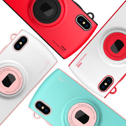 BestOnlineiPhone X Case With Camera Lanyard- Red,Blue,White,Pink