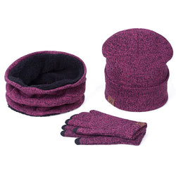 BestBuySale Skullies & Beanies Collar Scarf + Gloves + Knitted Skullies Beanie Set or winter - Dark Grey,Rose Red,Coffee,Grey,Light Grey,Black