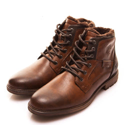 BestOnlineMen's Fashion Vintage Style High-Cut Lace-Up Winter Boots