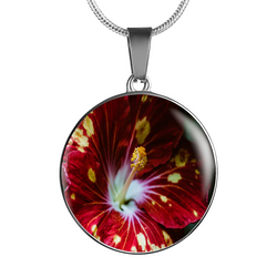 BestBuySale Pendant Necklace Bright Red Flower Luxury Pendant Necklace and Bangle - Gold,Silver