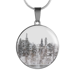 BestBuySale Pendant Necklace Winter Water Side Hill Luxury Pendant Necklace and Bangle - Gold,Silver