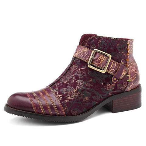 BestBuySaleRetro Bohemian Women's Ankle Boots With Zip - Wine Red,Black,Blue