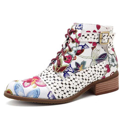BestBuySale Boots Women's Fashion White Retro Bohemian Printed Genuine Leather Square Heel Ankle Boots