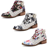 BestBuySaleWomen's Fashion White Retro Bohemian Printed Genuine Leather Square Heel Ankle Boots