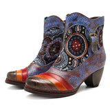 BestBuySale Boots Women's Western Vintage Printed Bohemian Fashion Winter Heels Ankle Boots