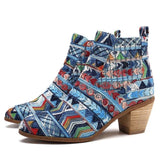 BestOnlineRetro Ethnic Women's Fashion Ankle Boots - Black,Blue,Silver