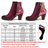 BestBuySaleElegant Women's Retro Printed Floral Pattern High Heel Leather Ankle Boots