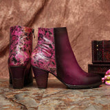 BestBuySale Boots Elegant Women's Retro Printed Floral Pattern High Heel Leather Ankle Boots