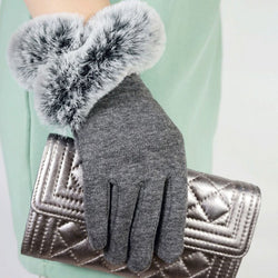 BestOnlineFashion Women's Thin Winter Fake Rabbit Fur Gloves