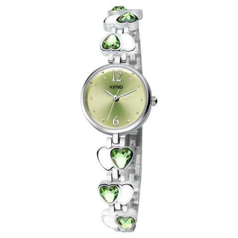BestOnlineKimio Heart Gem Thin Strap Wrist Watches