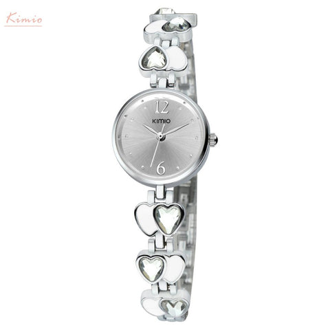 BestBuySaleKimio Heart Gem Thin Strap Wrist Watches
