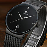 BestOnlineWaterproof Slim Stainless Steel With Date Luxury Quartz Brand Watch For Men - Black/Gold/Silver Blue/Silver White
