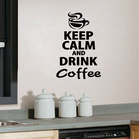 "BestBuySale""Keep Calm And Drink Coffee"" Wall Stickers - Black,Red,White,Brown,Light Grey,Dark Grey"