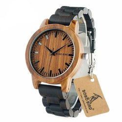 BestBuySale Watch Men's Red Sandalwood Dial + Ebony Wood Band Wooden Watch