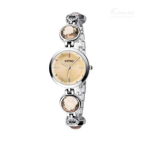 BestOnlineKIMIO  Simiple Fashion Quartz Watches For Women Waterproof Gem Hollow