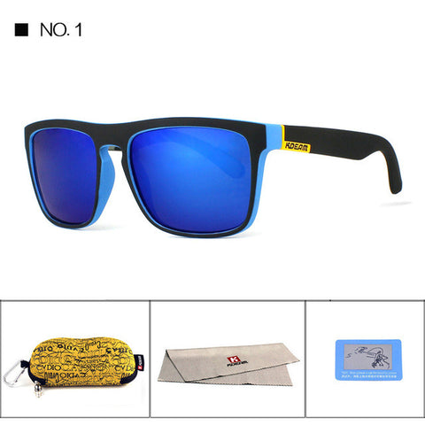 BestOnlinePolarized Sunglasses Men Sport  Fashion Square Frame Brand Designer Reflective Coating UV400 With Case