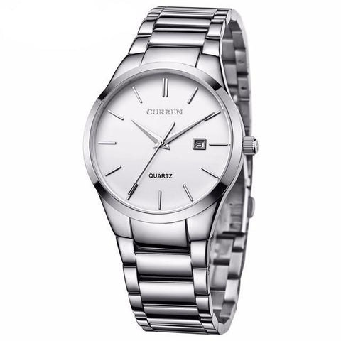 BestOnlineCURREN Luxury Brand  Analog Wristwatch With Display Date Stainless Steel Brand Watch - Black/White/Silver
