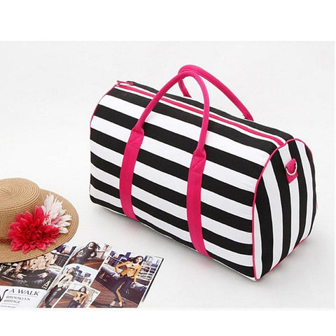 BestBuySale Luggage & Travel Bags Women's Black-White Striped Canvas Travel Handbags