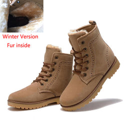 BestBuySale Boots Fashion Winter Snow Boots Shoes For Men Suede Pu Leather - Beige/Black/Blue