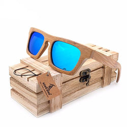 SunglassesOnlineUSA Square Handmade Polarized Sunglasses in Wooden Box - Blue,Silver