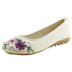 BestBuySale Flats Comfortable  Flower  Slip On Cotton Fabric Flats